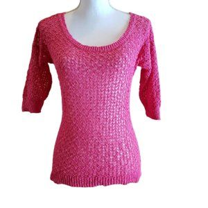 CABLE & GAUGE Blouse Pink Crocheted Topper Size S